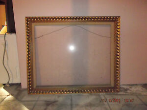 Vintage Ornate Antique Style Gold Picture Frame Wglass 35 X 30 Ebay