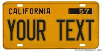 Personalized California 1957 Yellow & Black Novelty License Plate