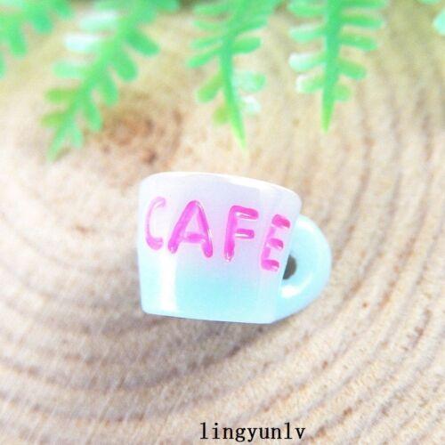 20pcs Bleu Résine Tasse à café Cabochons Flatback crafts À faire soi-même Jewelry Findings 51358