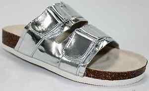 Easy-On-Slippers-Slipon-Chic-Sandal-Metallic-Silver-Adjustable-Strap-Women-Shoes