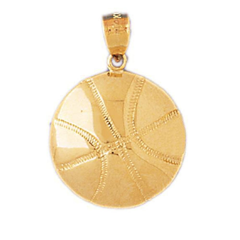 14k Yellow gold BASKETBALL Pendant   Charm, Made in USA