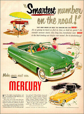 LIGHTHOUSE 1949 MERCURY V-8 Red Car VINTAGE AD Smarter To Own A Mercury!