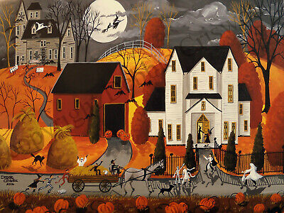Dollhouse art 1.5x2 giclee print 3 LITTLE WITCHES Halloween black cat home DC