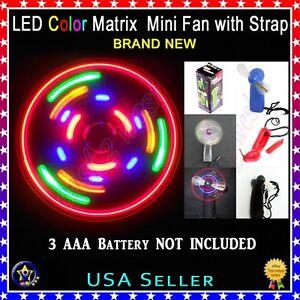Led Color Matrix Mini Fan With Strap Portable Light Up