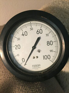 Vintage-6-Foxboro-Gauge-Distillation-Brass-Steel-Heavy-Industrial-100-PSI-Used