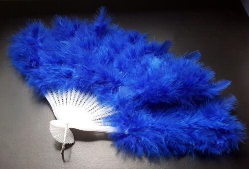 Éventail en plumes Marabout BLEU pour ENFANT Cancan Cabarets Fêtes Déguisements