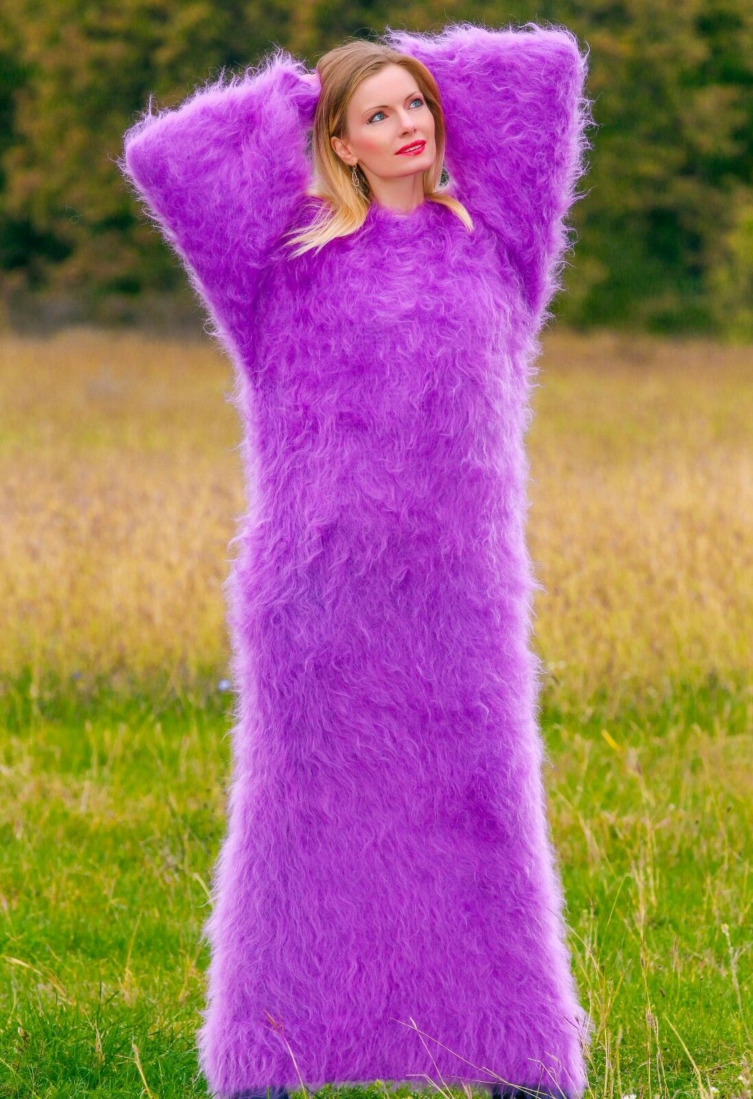 Purple hand knitted mohair sweater sweater sweater dress oversized fuzzy long gown by SUPERTANYA 094289