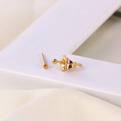 "9k 9ct Yellow /""GOLD FILLED/"" Men Ladies Plain Tiny stud Earrings 1mm  Gift,1260"