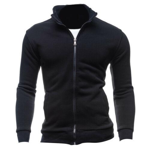 Mens Long Sleeve Top Sweatshirt Full Zip Funnel Neck Pull Over Sweatshirts Shirt