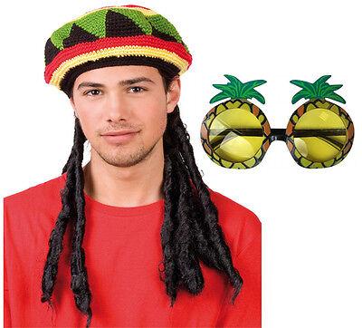 Nuovo Rasta Giamaicano Bob Marley Cappello Parrucca Treccine Rastaoppure & Occhiali Caraibi Costume-mostra Il Titolo Originale