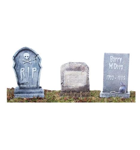 Tombstone 3 Pack Lifesize Standup Cutout Standee Cardboard Halloween Spooky 2393