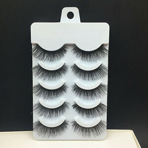 NEW-5Pairs-Soft-Makeup-Cross-Thick-False-Eyelashes-Eye-Lashes-Nautral-Handmade
