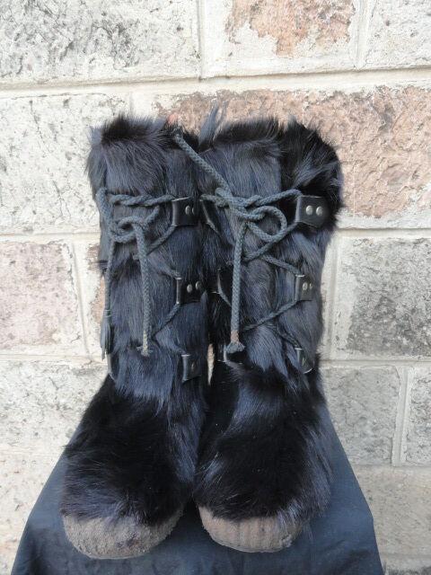 una marca di lusso donna Vtg nero Fur & Shearling Shearling Shearling Mid-Calf Winter Ski Yeti Mukluk Snow stivali Sz-8  perfezionare
