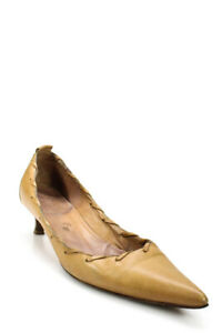hermes womens leather pointed toe kitten heel pumps brown
