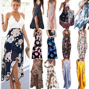 Damen Party Lang Kleider Maxikleid Boho Hippie Sommerkleid