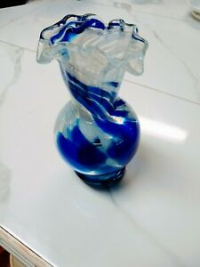 "Vintage Cobalt Blue & White Swirl Glass Vase. Hand Blown 7"" X 3 1/2"""