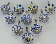 12 White & blue door knobs Ceramic knob drawer chrome hardware puller handle