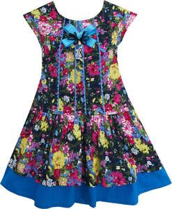 Sunny-Fashion-Robe-Fille-Halloween-Sombre-Couleur-Fleur-Arc-Attacher