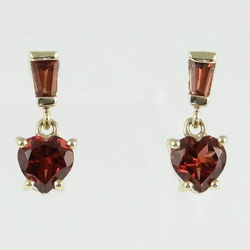 9ct gold Garnet Heart Drop Earrings