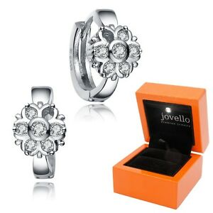Creolen-Blume-Zirkonia-Ohrring-Ohrstecker-aus-925-Silber-exkl-LED-Holzbox