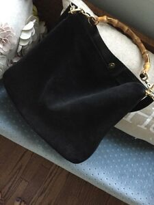 ce54c747d27 Gucci Black Suede Leather Bamboo Handle Hobo Bag With Detachable ...