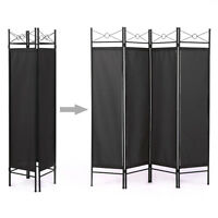 Room Divider Screen 4 Panel Blk Folding Partition Privacy Room Decor Metal Frame