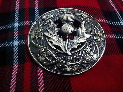 Highland Kilt Fly Plaid Brooch Scottish Thistle Antique//Thistle Brooches Chrome