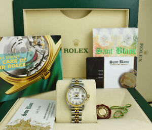 ROLEX 18kt Gold & Stainless Steel Ladies DateJust White Diamond 79173 SANT BLANC