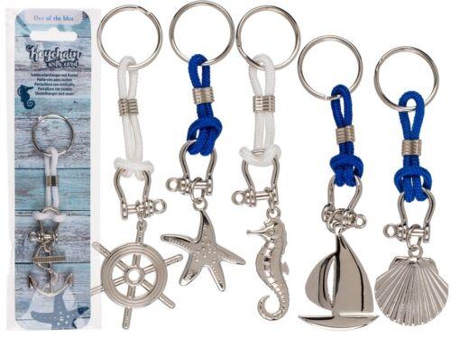 14 cm Maritimer Schlüsselanhänger mit Kordel Metall ca