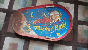 Vintage-Child-039-s-Metal-Rocket-Rider-Printed-Snow-Sled