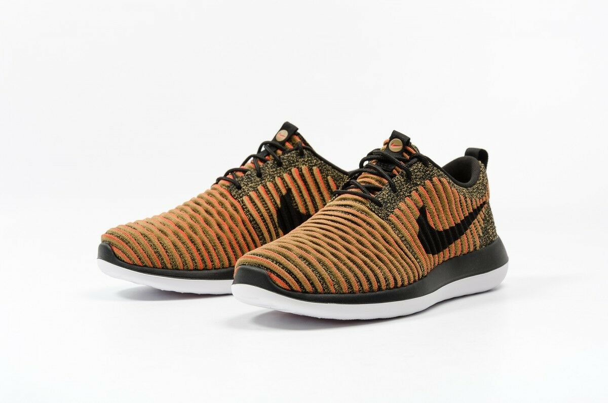 NIKE ROSHE TWO FLYKNIT Running Trainers Trainers Trainers Gym Casual Negro Naranja - Various Talla f3ce2e