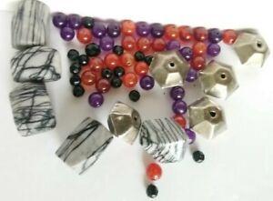Lot-Agate-Amethyst-Carnelian-Gemstone-Brass-Hexagon-Craft-Jewellery-Making-Beads