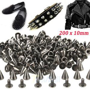 200 x 10mm Black Spots Cone Screw Metal Studs Leathercraft Rivet Bullet Spikes