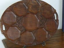 Antique Wooden Hand Carved Oyster Coquille St Jaques Scallops Serving Dish Tray