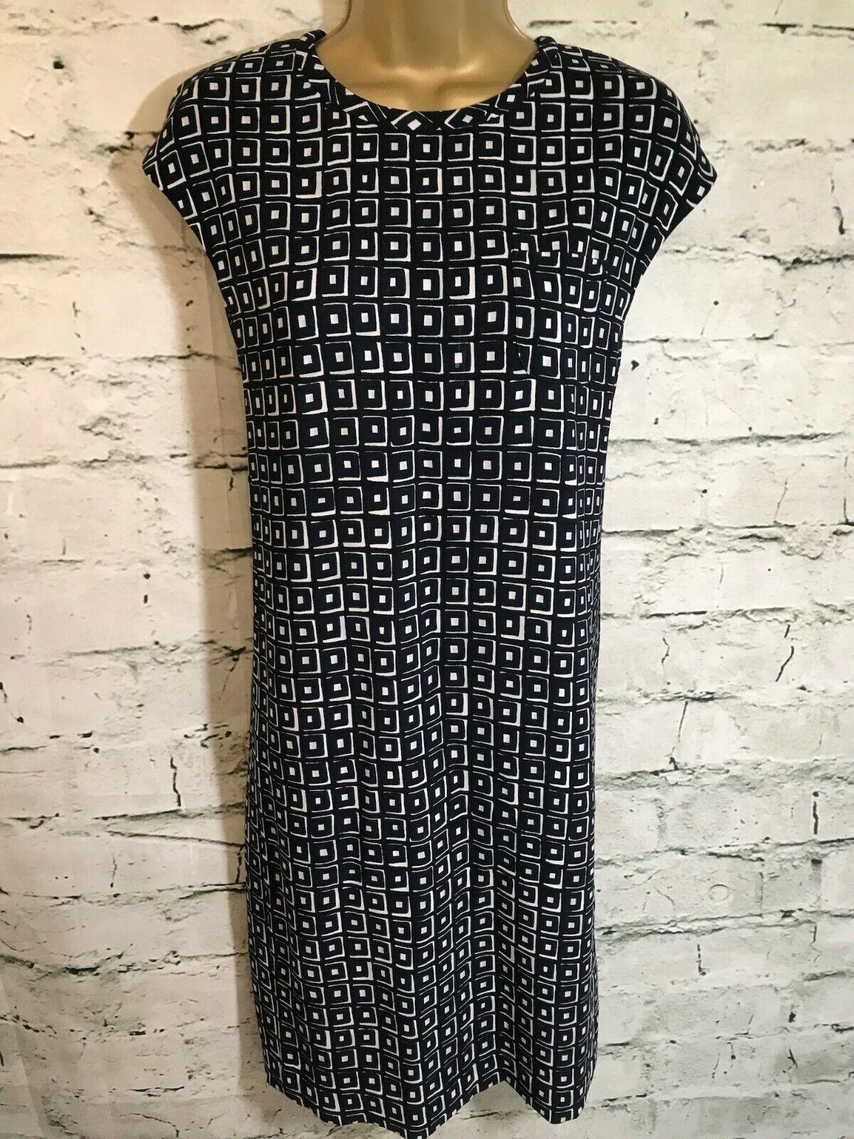 S& 039;Max Mara Femme Blau Marine Et Weiß Geometric Print Shift Dress It 44 UK 12 EU 40