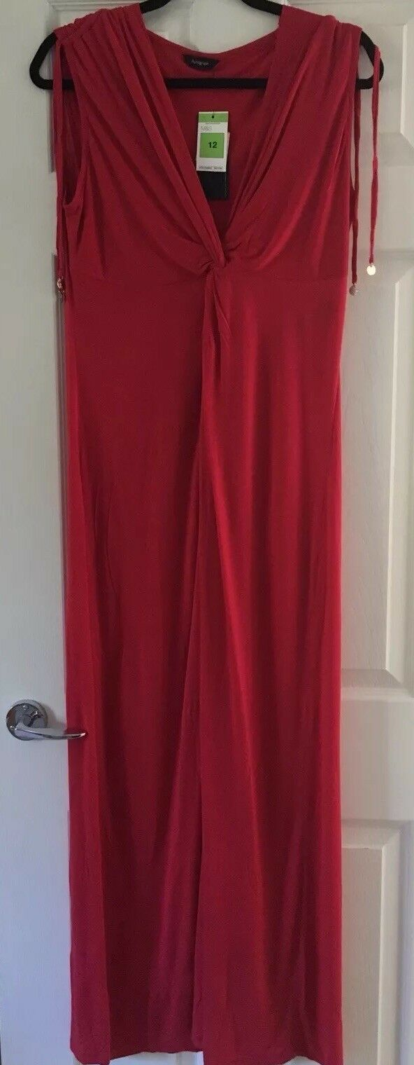 M&s Rouge Stretch Robe Robe Stretch Longue Taille 12 Bnwt Plage Vacances 939a23