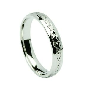 Image Is Loading Solid Silver Mens Claddagh Wedding Band Ring Made