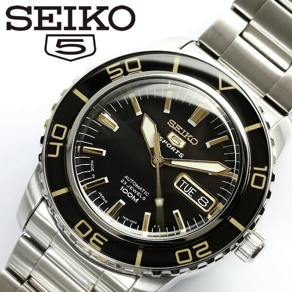 SEIKO 5 SPORTS AUTOMATIC SNZH57J1 BLACK x GOLD SNZH57 MADE IN JAPAN MEN WATCH