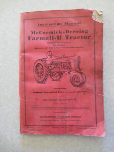 original 1940s farmall h tractor owners manual international rh ebay com Firing Order Diagram for Farmall H Tractor Farmall H Tractor Parts