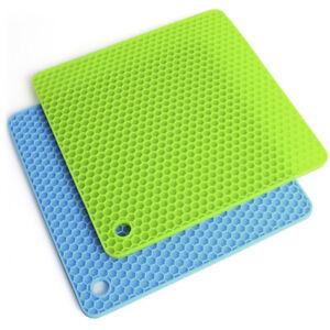 68aaf7b4ca1 Square Round Heat Resistant Trivet Mat Pot Silicone Mat Non-Slip Pan ...
