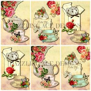 12-VINTAGE-TEA-PARTY-IDEAL-Embellishments-Card-Making-Toppers-Card-Toppers