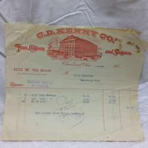 Vtg-1919-Bill-Receipt-C-D-Kenny-Co-Teas-Coffees-amp-Sugars-Cleveland-OH-Letterhead