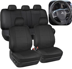 Black PU Leather Seat Covers For Car Auto Sport Grip Steering