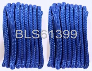 """2 Set of Blue Solid Braided MFP 3//8/"""" in x 15/' ft Boat Marine Dock Line Ropes"""