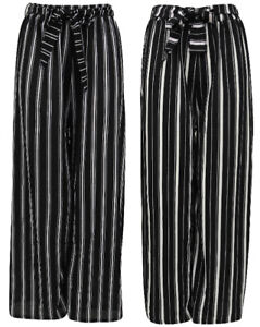 Ladies-Palazzo-Striped-Trousers-Wide-Leg-Stretch-Baggy-Belt-Elasticated-Womens