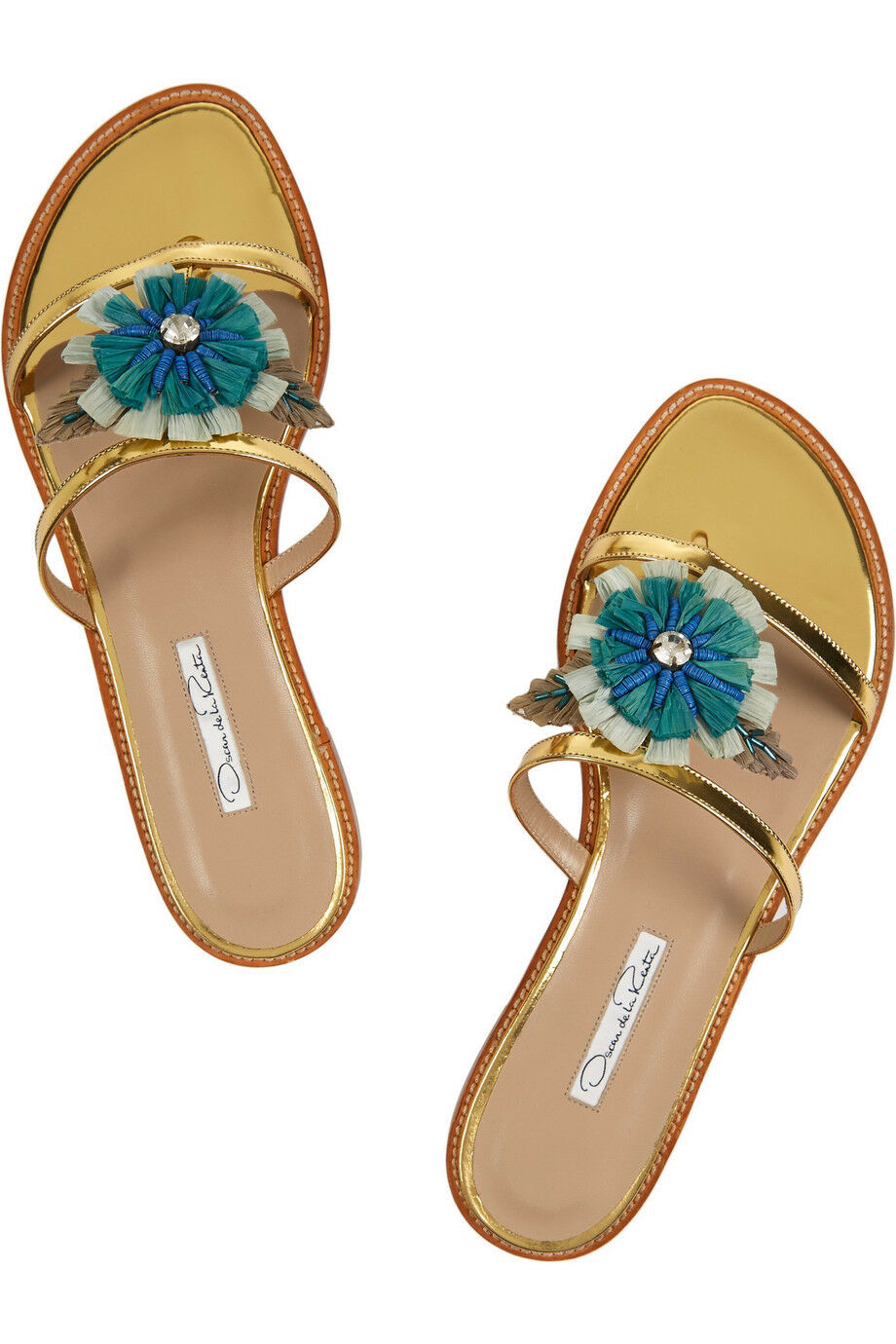 NEW OSCAR De La RENTA Wissy Flo Embellished Patent gold Flats SANDALS 40 40.5