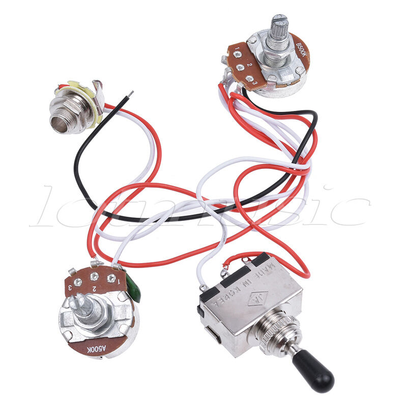 guitar wiring harness kit 3 way toggle switch 1v1t pots for guitar parts ebay