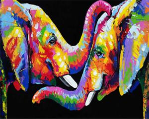Paint by Number Kit, Wrinkle-Free Canvas, 16x20 inch (Without Frame), Elephant