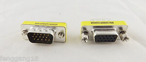 DB15 15-Pin Lot of 14 SVGA VGA Male-to-Male Mini Gender Changer Adapter Coupler