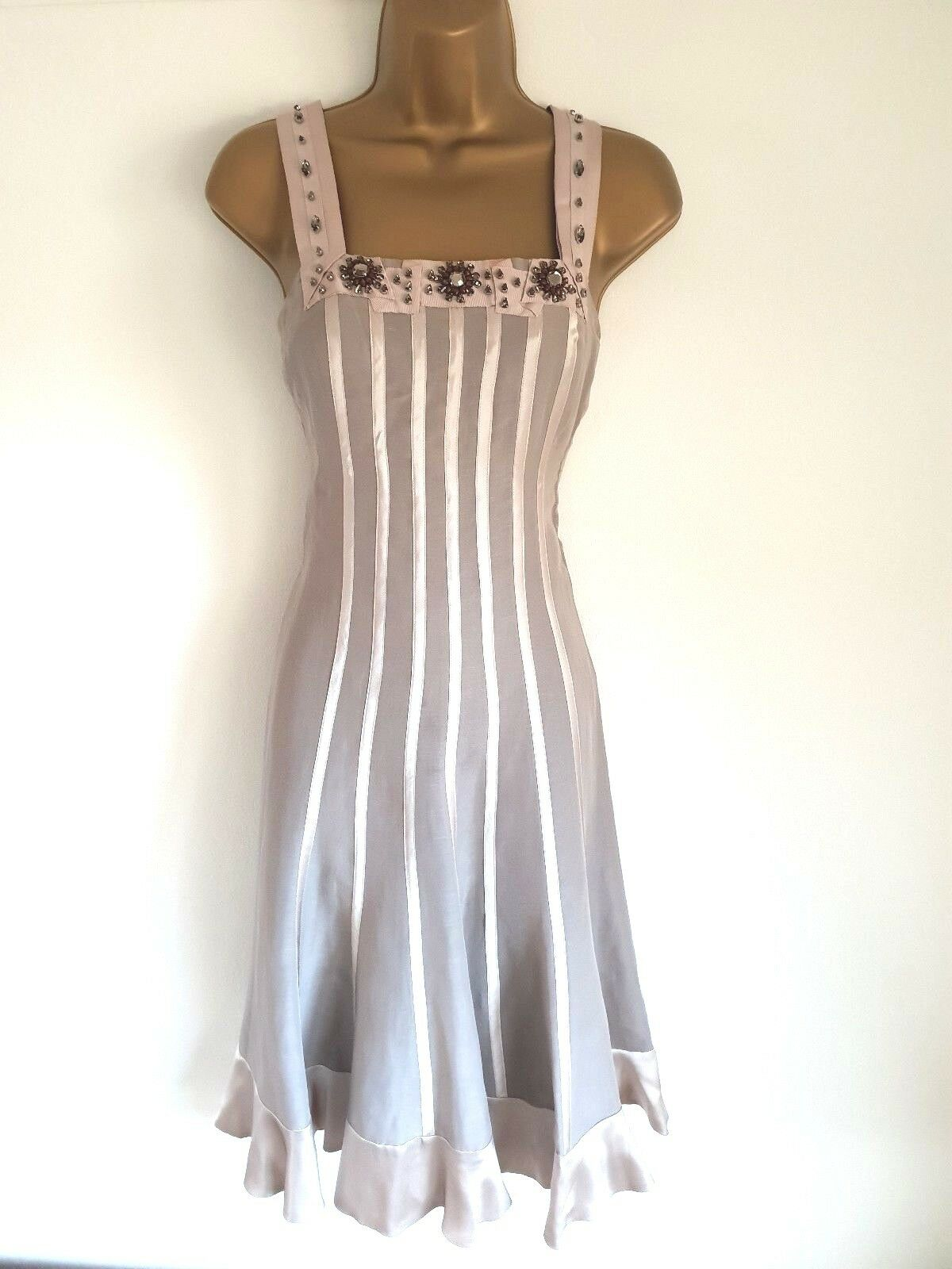 FENN WRIGHT WRIGHT WRIGHT MANSON stunning Taupe  occasion , wedding quest dress size 10 UK f3aed7